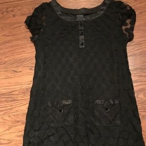 Enfocus Black Polka Dot Mini Dress